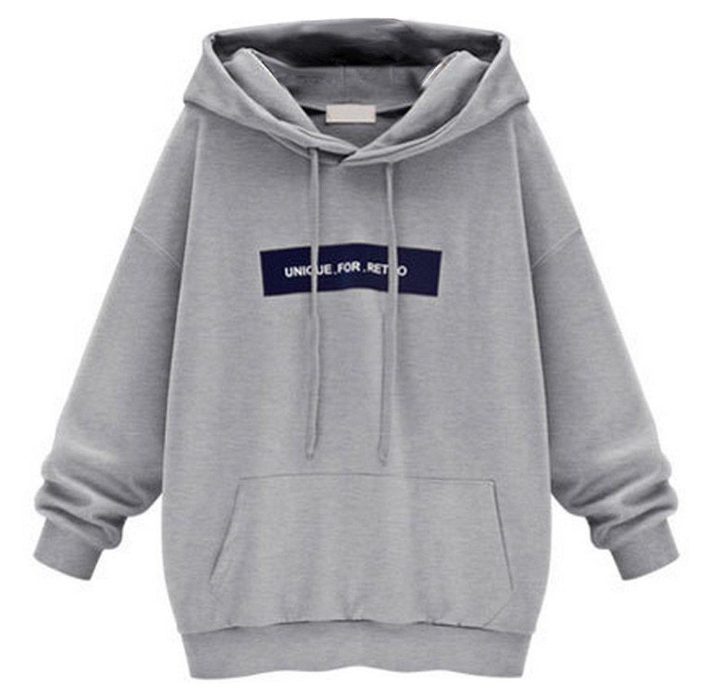 LANMWORN Long Sleeve Letters Pullover Hoodies, Autumn Winter Fashion Medium Style Coat Hedging Sweatshirt with Hood.