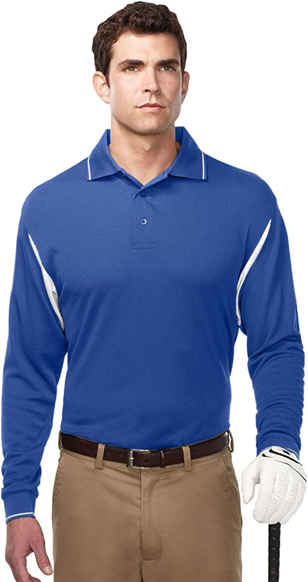 Tri-Mountain Mens UltraCool Wicking Long Sleeve Action Waffle Knit Sports Polo
