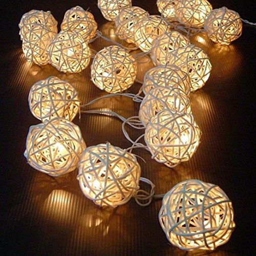 Anboo Hot 20 LED Color Rattan Ball String Fairy Lights For Xmas Halloween Wedding Party Festival (Beige)