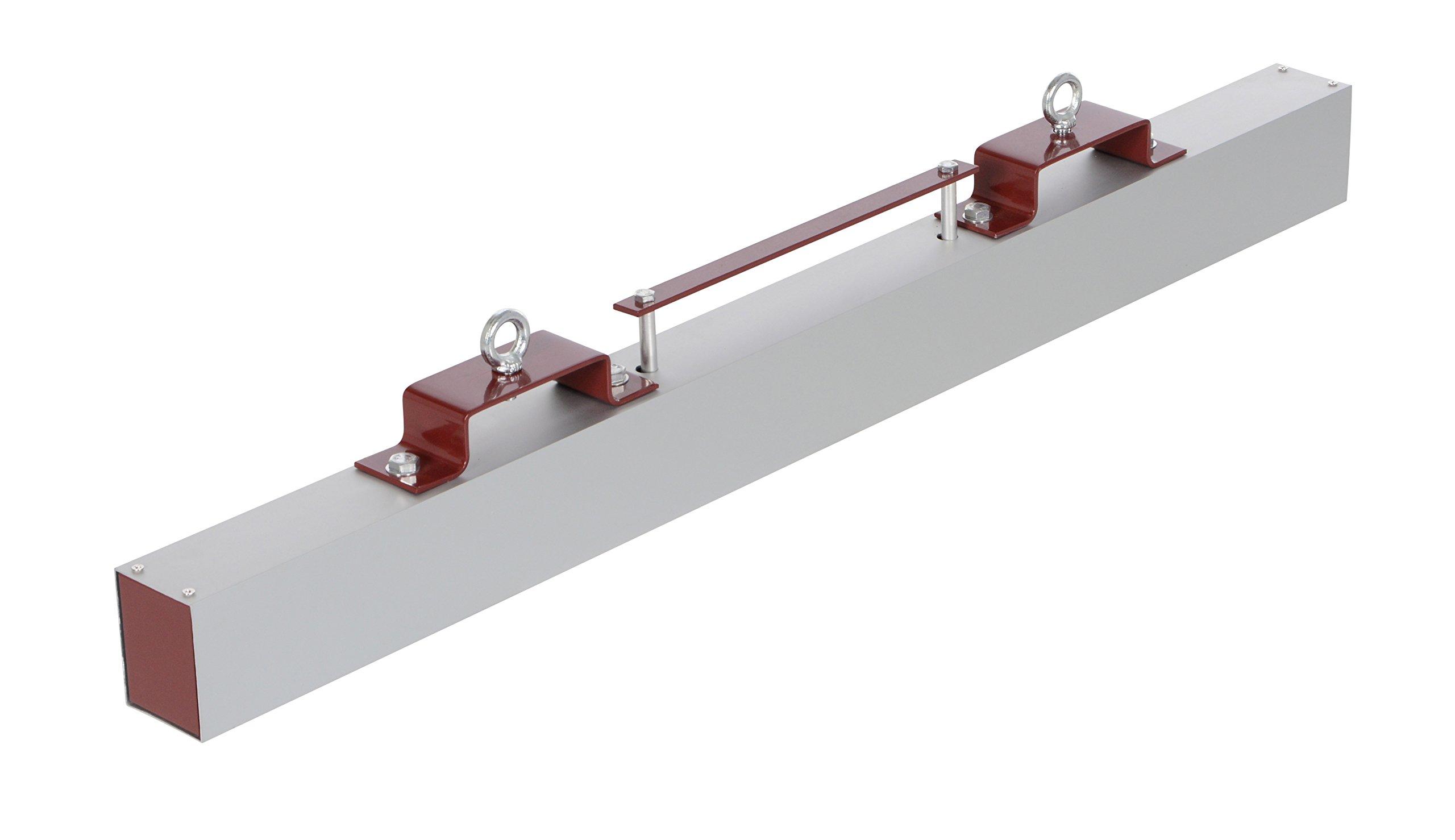Vestil HFMS-48 Magnetic Sweeper Forklift Hanger, Release Lever, 5'' x 1-1/4'' Fork Pockets, Overall Dimensions 3'' Length x 48'' Width x 7'' Height, 55 lb. Capacity