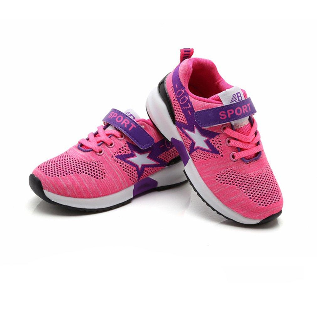Unisex-Kinder Sneaker Laufschuhe Hohl Atmungsaktiv Klettverschluss Leuchtend Sportschuhe Ultraleicht Streifen Schick Schuhe Pink 27 z4wc3NG