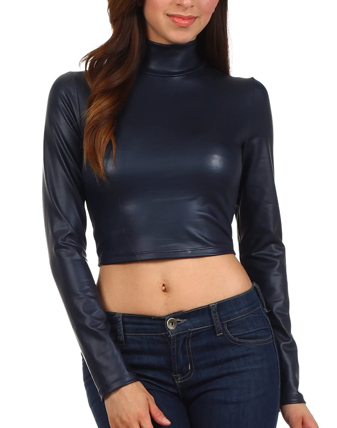 Sakkas Matte Liquid Schein-Hals Rollkragen lange Ärmel Crop Top - Made in USA