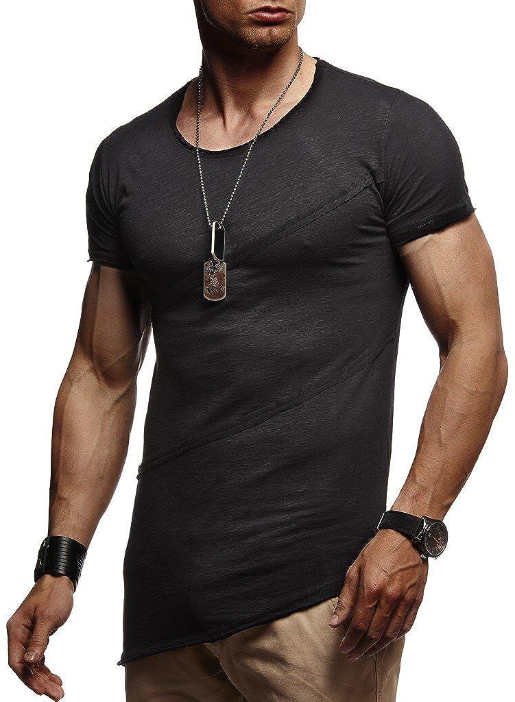 LEIF NELSON Herren trendiges T-Shirt Hoodie Sweatshirt Crew Neck Rundhals Ausschnitt Kurzarm Longsleeve modernes Basic 1-10931T