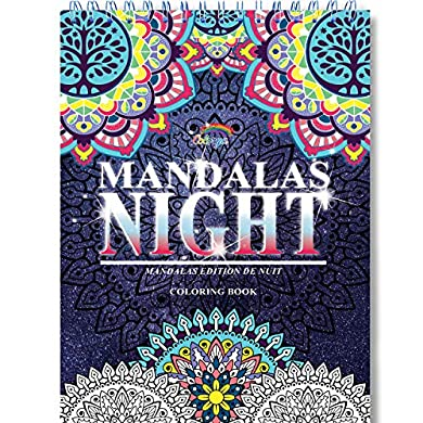Libros de mandalas colorear adultos de Colorya - Mandalas Night - Encuadernación en espiral, papel premium, sin transferencias de color, impresión a una cara A4 - Libros para colorear adultos Regalo – 5 mayo 2021 a buen precio