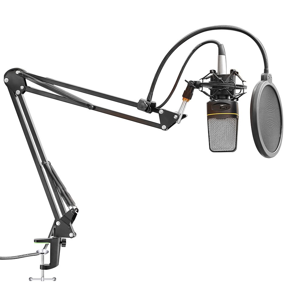 NeewerNW-35 Microphone Suspension Boom Scissor Arm Stand with Built-in XLR to XLR Cable Metal Shock Mount Table Mounting Clamp and Pop Filter Windscreen Mask Shield