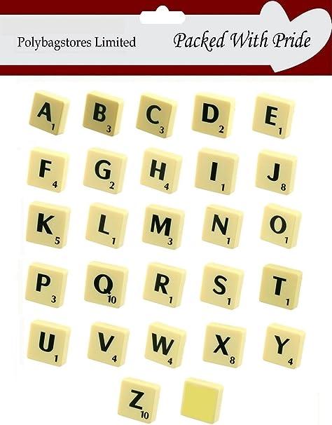 Pack de 20 – sola letra de plástico Scrabble Tiles – Azulejos de color marfil con letras de