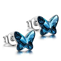 ANGEL NINA Women Butterfly Series Pierced Stud Earrings Neckalce 925 Sterling Silver with Blue Swarovski Crystals, Christmas Gifts Elegant Jewellery Gift Box, Nickel Free Passed SGS Test