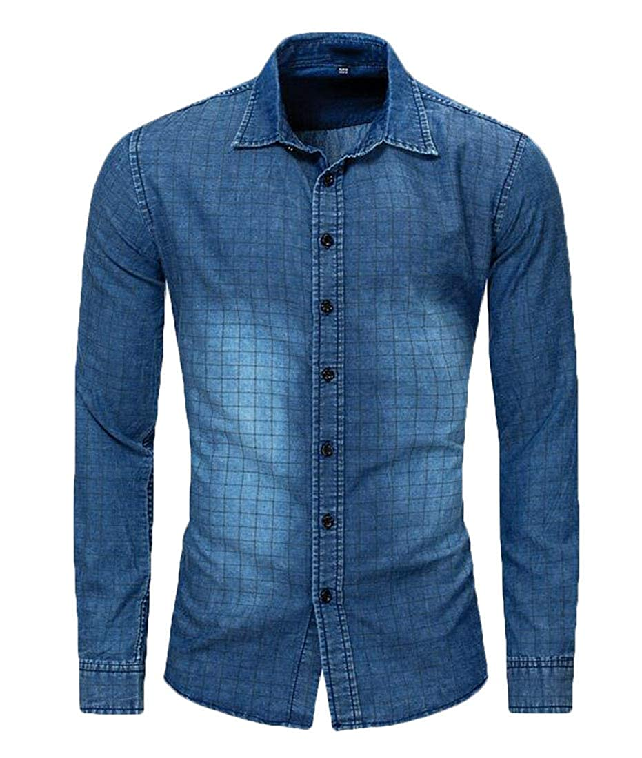 Domple Mens Casual Regular Fit Long Sleeve Checked Button Down Denim Cotton Shirt