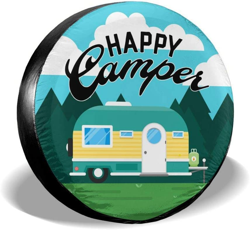 RV Happy Camper Camping Jeep Spare Tire Cover Waterproof UV Sun Tyre Cover Fit for Jeep,Trailer SUV and Many Vehicle 14 Inch