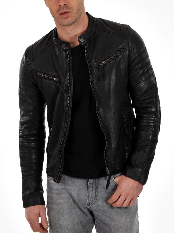 Men Leather Jacket Biker Motorcycle Coat Slim Fit Outwear Jackets AUK093