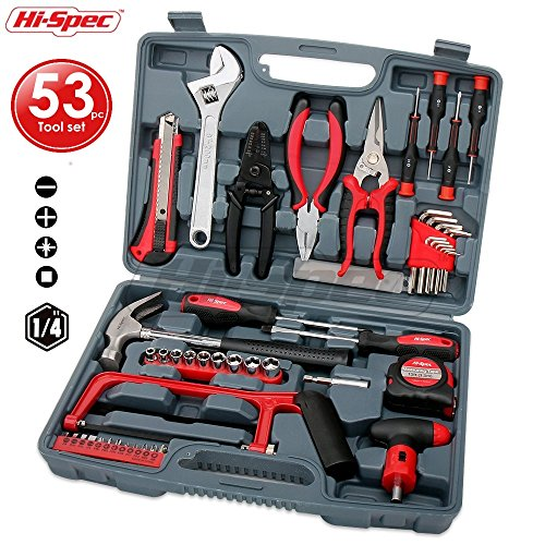 Hi-Spec 53 Piece Household & Garage Tool Kit with Claw Hammer, Hack Saw, Sockets, Adjustable Spanner, Utility Knife, Wire Strippers, Pliers, Tin Snips, Hex Keys, Screw Bits & more - in Heavy Duty Case (Screwdrivers Case Pliers)