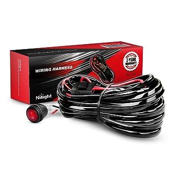nilight led light bar wiring harness kit 14awg heavy duty 12v on offnilight led light bar wiring harness kit 14awg heavy duty 12v on off switch power