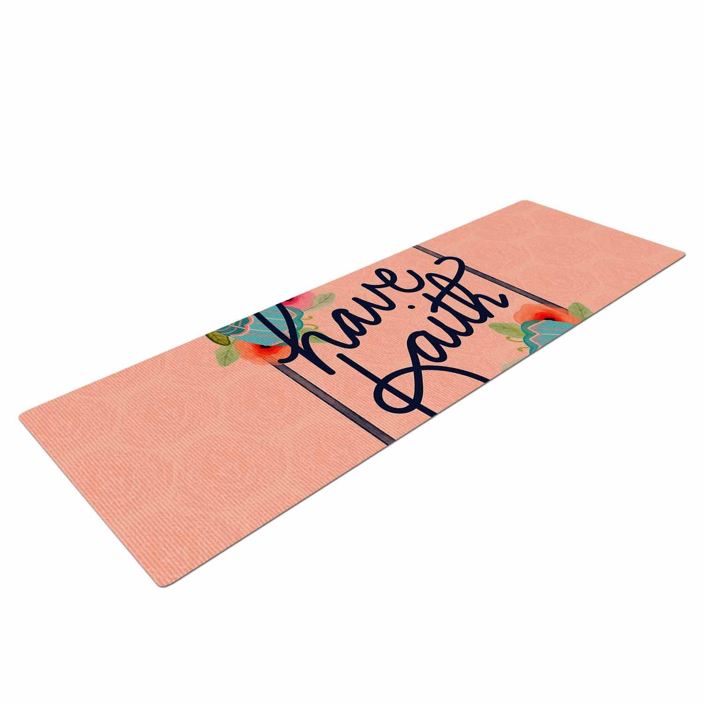 Kess eigene Yogamatte Noonday Design Have Faith Coral Blaugrün Typografie Yogamatte, 182,9 x 61 cm