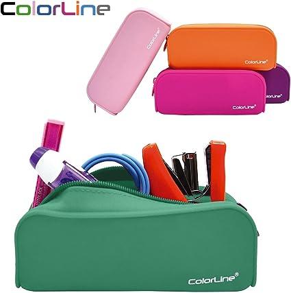 Colorline 58111 - Portatodo de Silicona con Tacto Ultra Soft de Alta Resistencia, Estuche Multiuso para Viaje, Material Escolar, Neceser y Accesorios. Color Verde Oscuro, Medidas 18 x 7 x 5 cm: