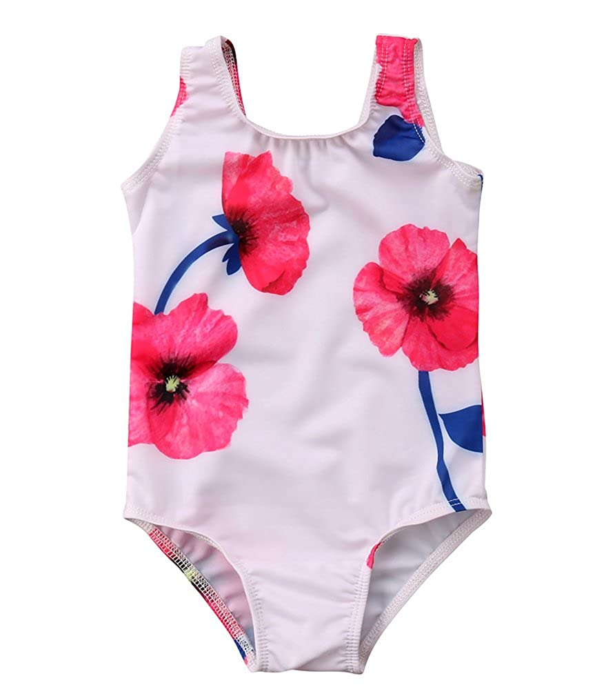 Specialcal Toddler Baby Girls Floral Print One Piece Swimsuit Bathing Swimwear Beachwear Bikini