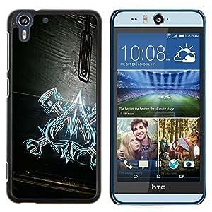 Eason Shop / Premium SLIM PC / Aliminium Casa Carcasa Funda Case Bandera Cover - De Espadas Trabajo Modelo de madera Mecánico - For HTC Desire Eye ( M910x )