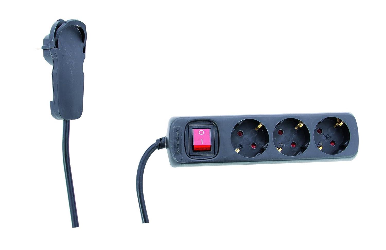 STECKDOSENLEISTE REV_0012326514 | 3 fach Steckdose ǀ Mehrfachsteckdose mit Schalter und REV-Flachstecker | Kindersicherung | 2 m Zuleitung | fü r den Innenbereich | Farbe: schwarz REV Ritter