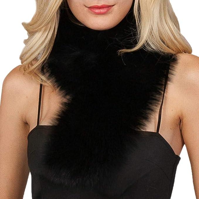 Cinnamou_mujer Bufandas y Pañuelos de Mujer Pelo Sintético de Suave Elegante Abrigo de Cuello de Pelo Bufanda Pura Pañuelos de Pelo para Las Mujeres: ...