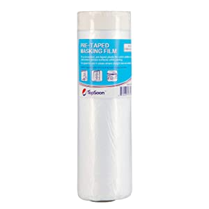 """TopSoon Pre-Taped Masking Film Painters Plastic Drop Cloth Plastic Sheeting Wall Surface Protection Film 59"""" x 65.6' (1 Roll)"""
