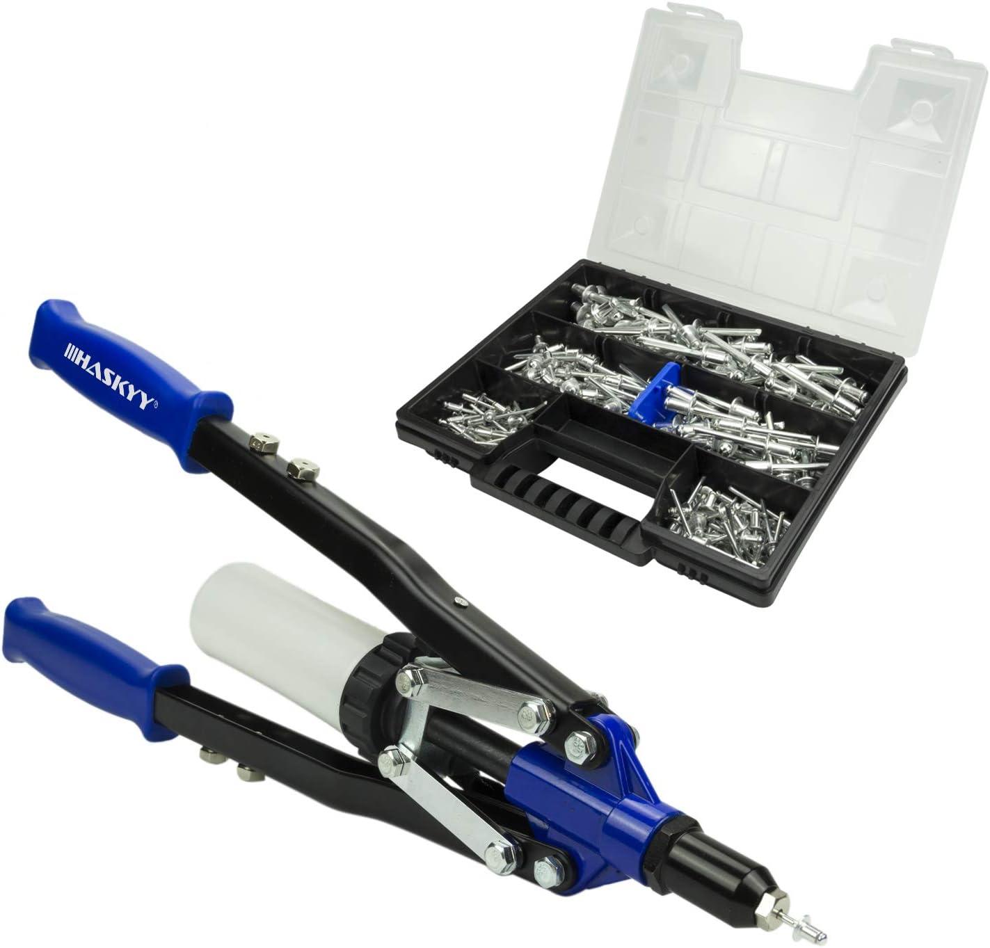 Pistola de remache Remachadora 3,2-4,0-4,8-6,0-6,4 mm mm incluye 150 remaches de aluminio en caja organizadora/maletín