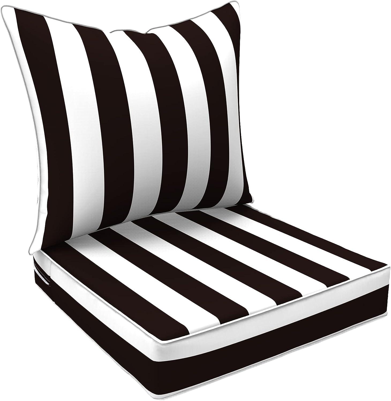 LVTXIII Outdoor/Indoor Deep Seat Chair Cushions Patio Back Seat Cushion Set for Armchairs, Rattan Wicker Chairs, Garden Furniture Home Decor - Cabana Black