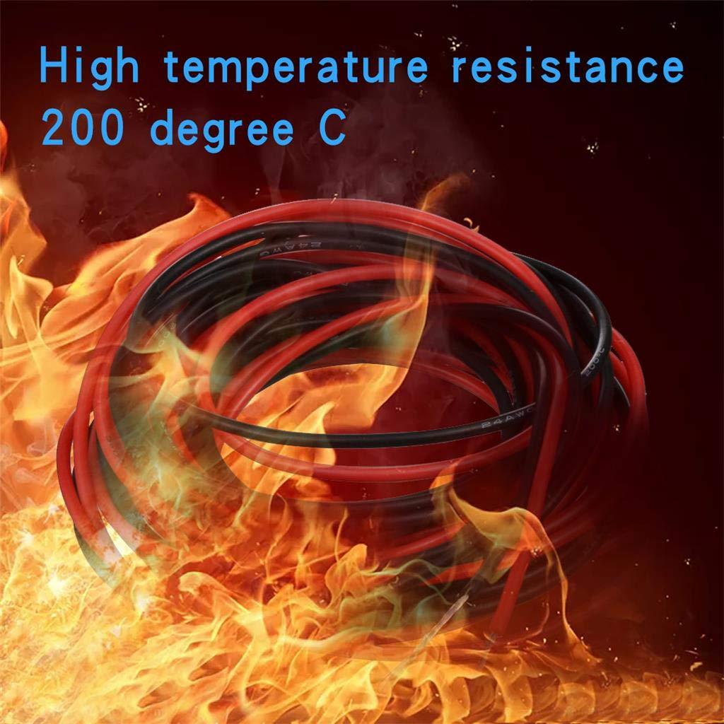 Bntechgo Calibre 24/Fil de silicone souple et r/ésistant aux temp/ératures /élev/ées tr/ès efficace 24/AWG Fil de silicone 40/brins de fil de cuivre /étam/é 10 ft red and 10 ft black