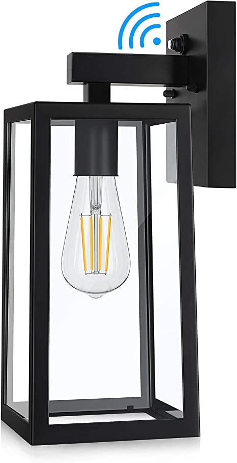 Dusk To Dawn Sensor Outdoor Wall Sconce Exterior Wall Lantern Fixture With E26 Base Socket Wall Mount Lights Anti Rust Waterproof Matte Black Wall Lamp With Clear Glass Shade For Garage Doorway
