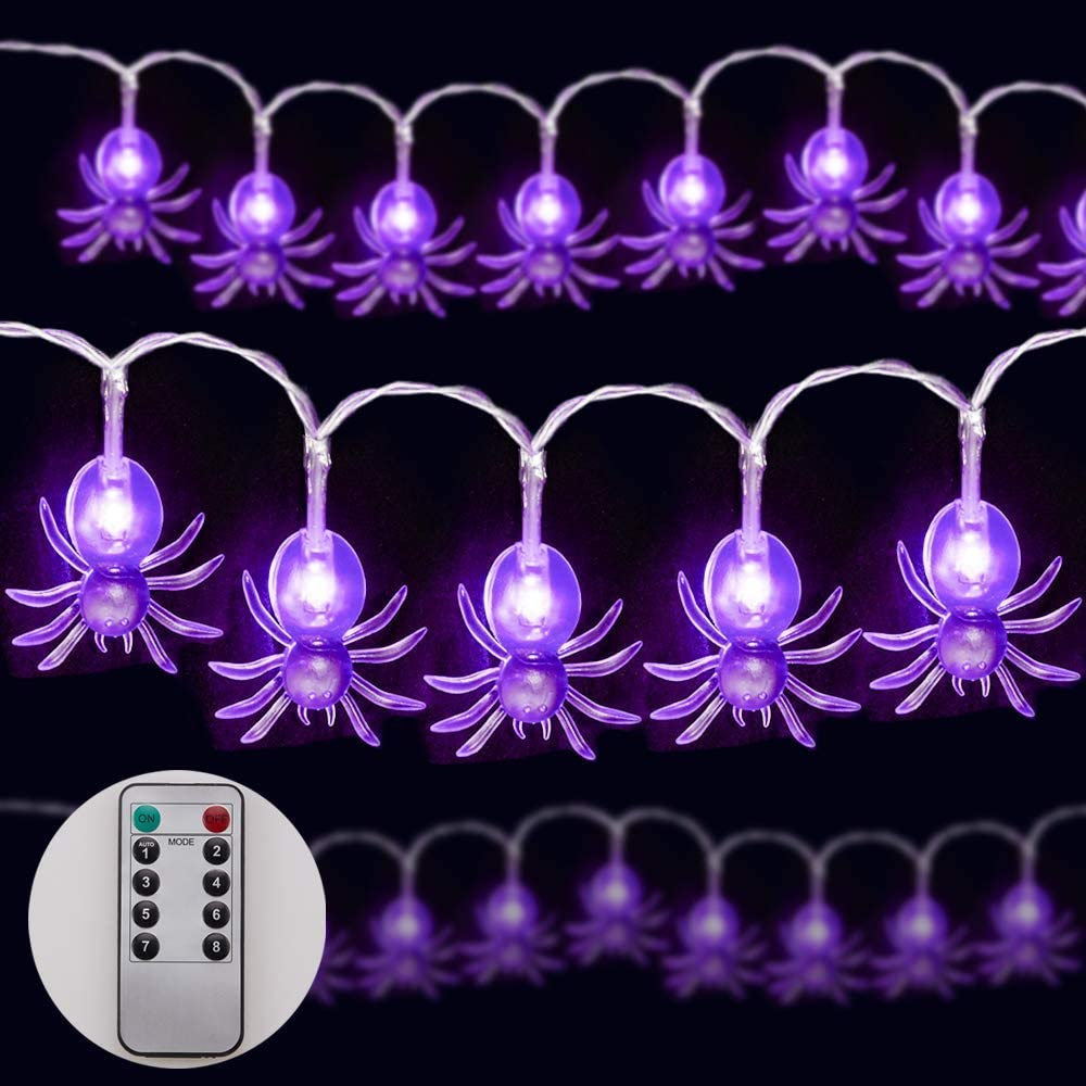 Epeolatry Halloween String Lights, 9.8ft 20LEDs Purple Lights with Remote Control 8 Lighting Modes,Halloween String Lights for Halloween Party Decor, Indoor & Outdoor Garden, Yard (Purple)