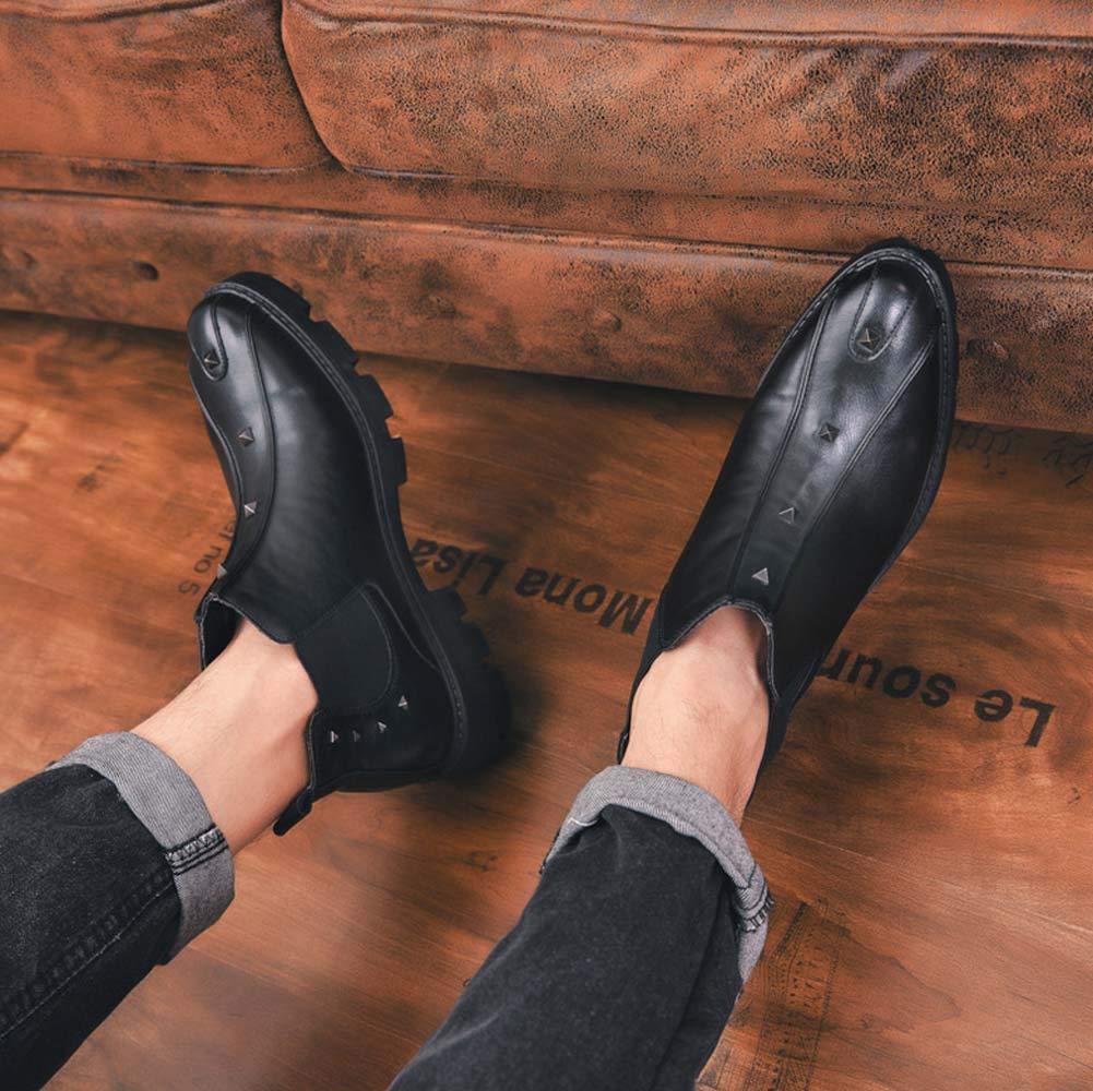 GLSHI Männer Rivet Martin Stiefel Mode Brogue Stiefel Plattform Chelsea Chelsea Chelsea Stiefel Schwarz 88ed64