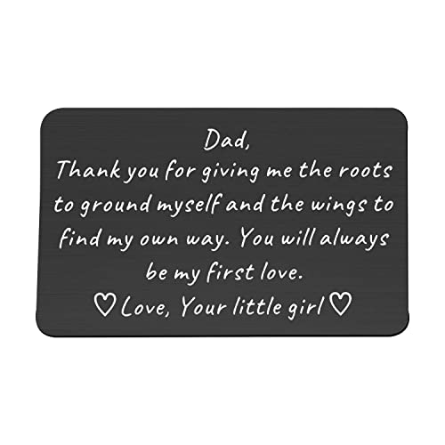 FUSTMW Dad Engraved Wallet Insert Card Dad Gifts Form Daughter Son for Daddy Metal Wallet Card Birthday Gifts