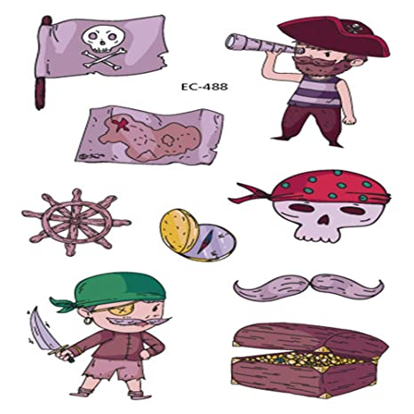 zgmtj Pegatinas de Tatuaje Pirata pintadas Treasure Hunt ...
