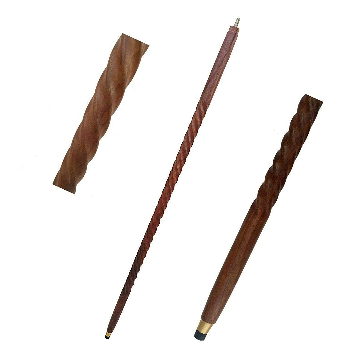 Wooden shaft Only 3 Fold Vintage wood Walking Stick Only For Cane brass Handle