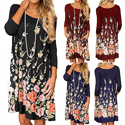 Imprimer Une Robe Droite Fashion Floral Robe Ligne Chinois Costume de Casual Cou Sundress Robe O Lisse Beaux Noir Lisse Vtements Womens Long Sleeve Tunique RzYxp1pfq