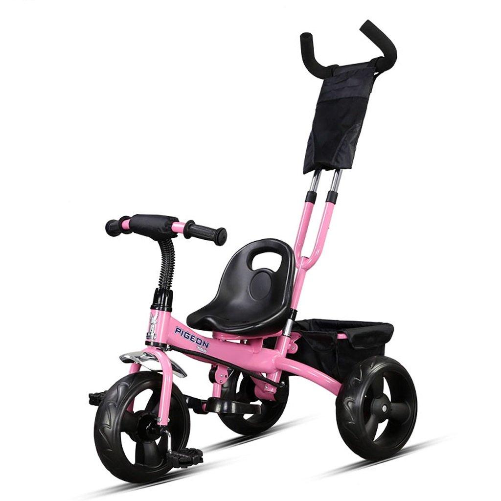 子供の三輪車バイク2-5歳の赤ちゃん/赤ちゃんの自転車トロリー、黄色/ピンク/白、76 * 43 * 110cm ( Color : Pink ) B07BZNGM6M