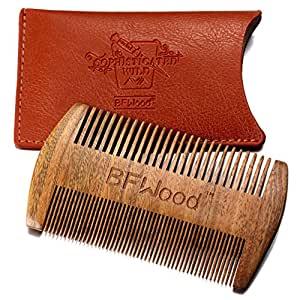 BFWood Pocket Beard Comb – Sandalwood Comb with Leather Case
