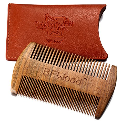 BFWood Pocket Beard Comb  Sandalwood Comb with Leather Case