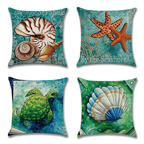 Artscope Home Decor Throw Pillow Covers Farmhouse Decorative Pillow Cover Car Sofa Square Cushion Cover, 18'' x 18'', Set of 4 (Sea Shells/Starfish/Turtle) (Square Sea Turtle)