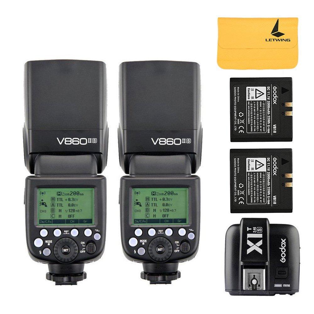 2 x Godox v860ii-s 2.4 G TTLリチウムイオン電池カメラフラッシュSpeedlite for Sony HVL - f60 m、hvl-f43 m、hvl-f32 m + Godox x1t-s i-ttl 2.4 Gワイヤレスフラッシュトリガートランスミッターfor Sony DSLRカメラMi Shoe   B01M8I1NJY