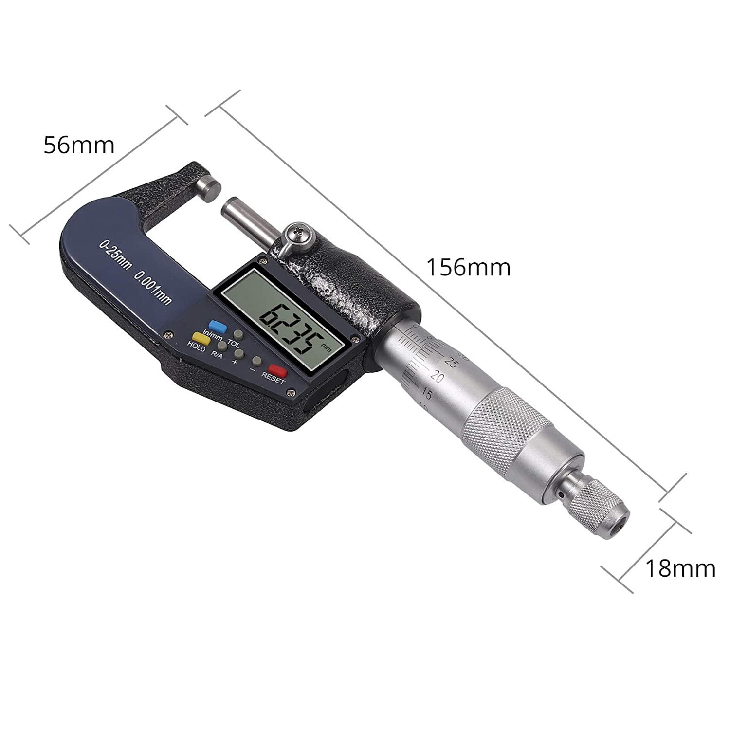 Digital Micrometer 0-1 Digital External Electronic Gauge with Absolute and Incremental Modes Digital Outside Micrometer Inch//Metric Measurement