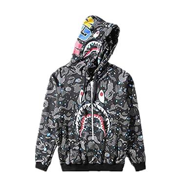 Fashion Bape Luminous Shark Print Thin Loose Hoodie Jacket for Men Women 9cce27a8a