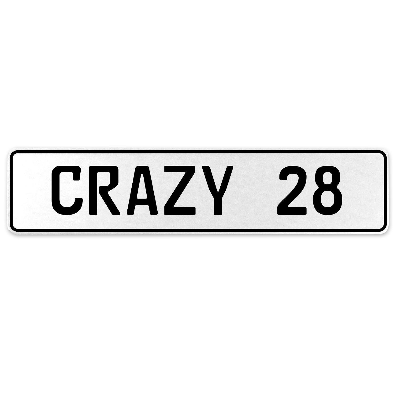 Vintage Parts 555615 Crazy 28 White Stamped Aluminum European License Plate