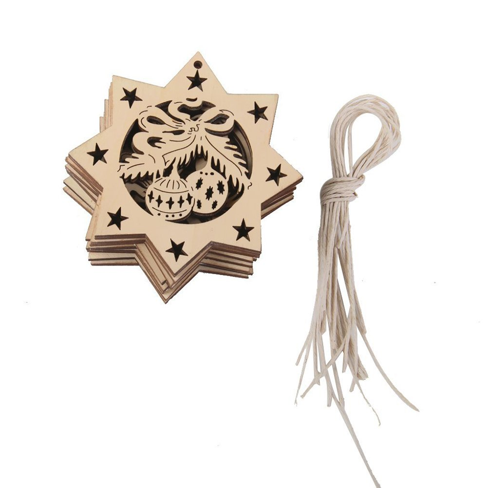 ROSENICE Natale decorazioni in legno ottagono campane ciondolo addobbo, 10pz