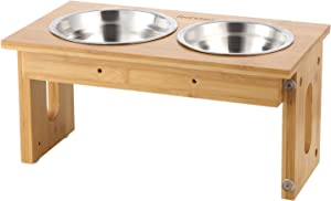 FEANDREA Raised Bowls, Bamboo Elevated Bowl Stand with 3 Adjustable Heights, for Dog, Cat, 2 Removable Stainless Steel Bowls, Anti-Slip Design, Natural UPRB004N01