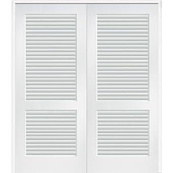 National Door Company Z022669BA Full Louver Primed MDF 36u0026quot;x80u0026quot;  Both Active Prehung Interior