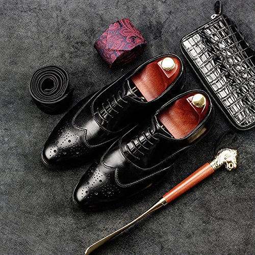 snfgoij Chaussures Brogues Hommes Antidérapants à Lacets Soirée Pointue Toe Men's Shoes Leather Business Chaussures en Cuir Sculpté Black HG9CUMUP