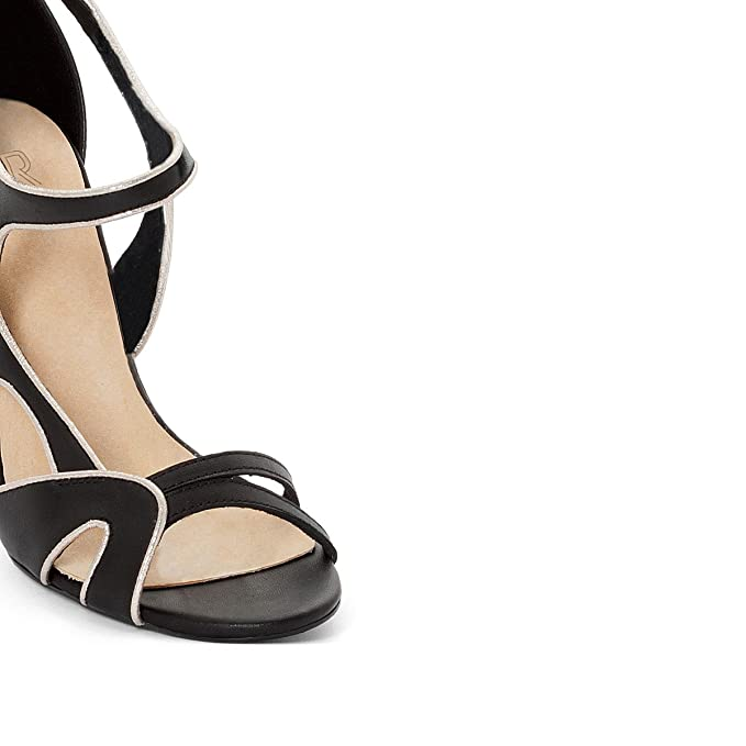 6e45095ca Amazon.com  La Redoute Collections Womens Leather Sandals With Asymmetric  Straps  Clothing