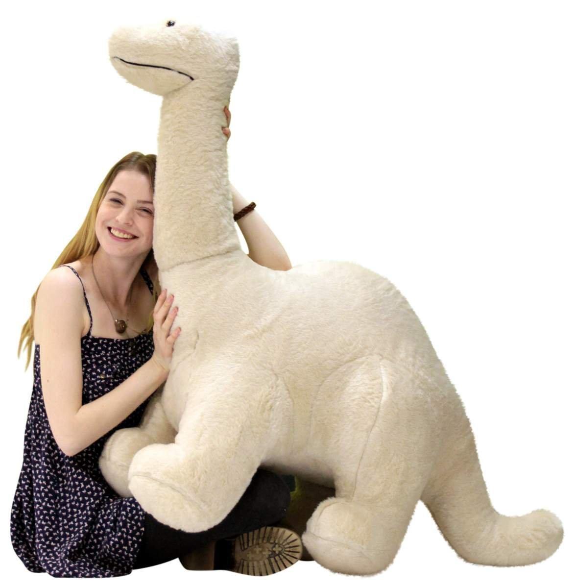 American Made Big Plush Papa Dinosaur, Soft Giant Stuffed Brontosaurus 4 Feet Long 3 Feet Tall Made in USA