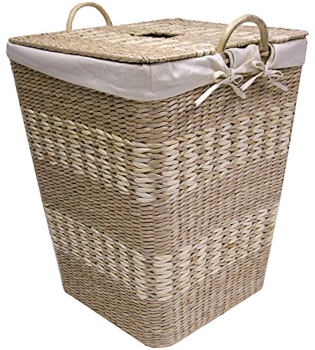 Natural Maize Storage Basket (Creative Bath Arcadia Hamper with Liner, Natural/Bleach)
