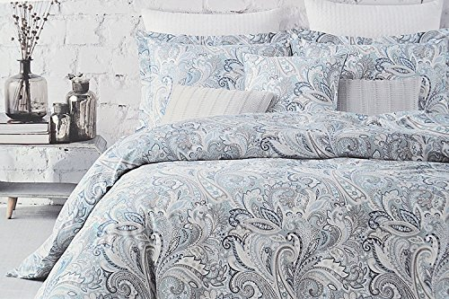 Envogue Bedding 3 Piece Duvet Cover Set Paisley Medallion Pattern in Shades of Blue Taupe Gray White ()