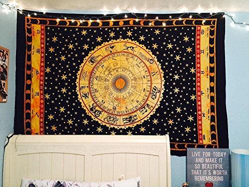 Black Zodiac Horoscope Tapestry, Indian Astrology Hippie Wall Hanging, Ethnic Decorative Art, Celtic Zodiac Tapestry. (85